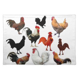 Rooster Collage Vintage Rustic Chickens Cloth Placemat