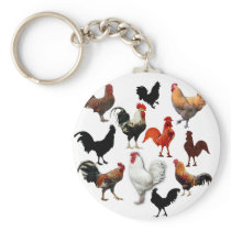Rooster Collage Vintage Rustic Chickens Keychain