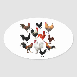 Rooster Collage Vintage Rustic Chickens Oval Sticker