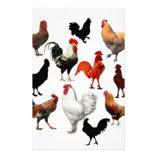 Rooster Collage Vintage Rustic Chickens Stationery
