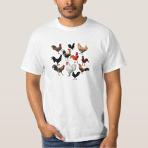 Rooster Collage Vintage Rustic Chickens T-Shirt