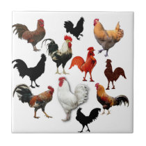 Rooster Collage Vintage Rustic Chickens Tile