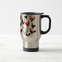 Rooster Collage Vintage Rustic Chickens Travel Mug