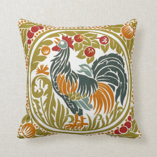 Rooster College Throw Pillow