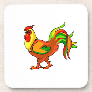 rooster colorful tail green red graphic.png drink coaster