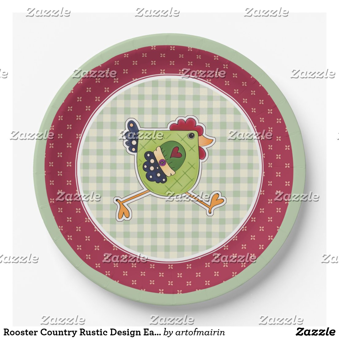 Rooster Country Rustic Design Easter Paper Plates