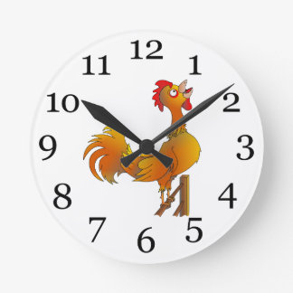 Rooster crowing round clocks