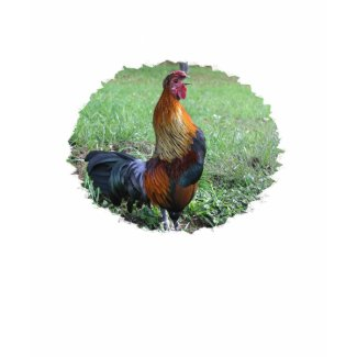 Rooster Crowing Nature Photo Cotton T-Shirt shirt