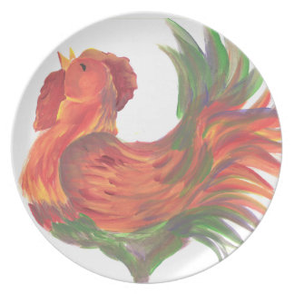 Rooster Crowing Plate