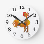 Rooster crowing round wall clock