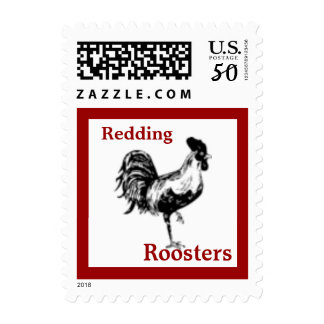 Rooster Crowing School Mascot Postage Stamp