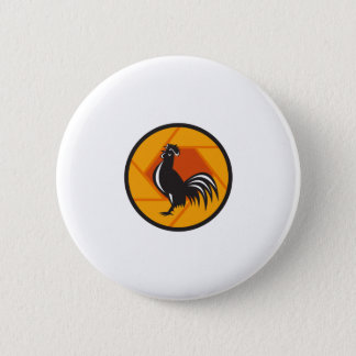 Rooster Crowing Shutter Circle Retro Button
