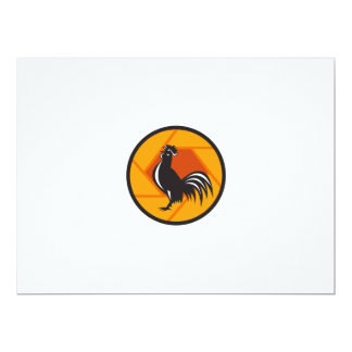 Rooster Crowing Shutter Circle Retro Card