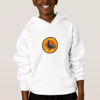 Rooster Crowing Shutter Circle Retro Hoodie