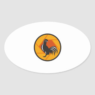 Rooster Crowing Shutter Circle Retro Oval Sticker