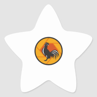 Rooster Crowing Shutter Circle Retro Star Sticker