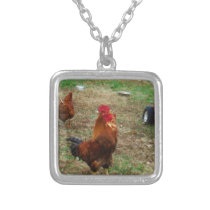 Rooster Crowing Silver Plated Necklace