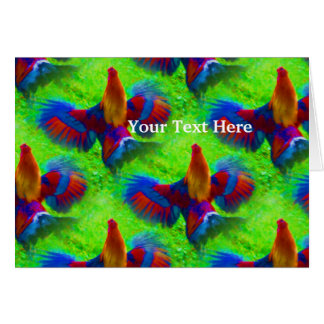 Rooster Dance Animal Abstract Art Card