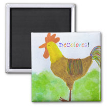 Rooster DeColores Magnet