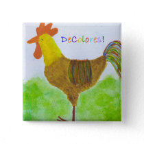 Rooster  DeColores Square Button