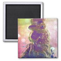 Rooster Digital Art Pink Bokeh Background Magnet