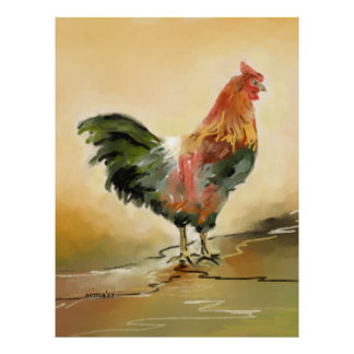 Rooster Digital Painting Poster