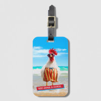 Rooster Dude Chillin' at Beach in Swim Trunks Bag Tag