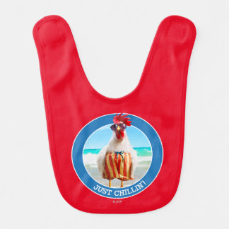 Rooster Dude Chillin' at Beach in Swim Trunks Bib