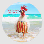 Rooster Dude Chillin' at Beach in Swim Trunks Classic Round Sticker