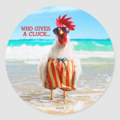 Rooster Dude Chillin' At Beach In Swim Trunks Classic Round Sticker at Zazzle
