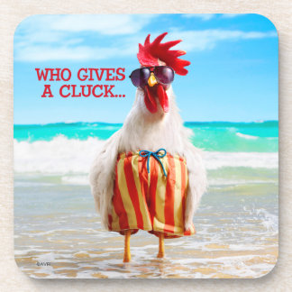 Rooster Dude Chillin' at Beach in Swim Trunks Drink Coaster