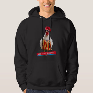 Rooster Dude Chillin' at Beach in Swim Trunks Hooded Sweatshirt