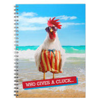 Rooster Dude Chillin' at Beach in Swim Trunks Notebook