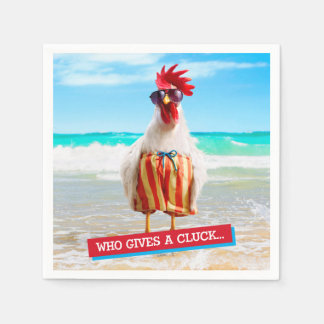 Rooster Dude Chillin' at Beach in Swim Trunks Paper Napkin