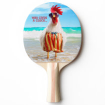 Rooster Dude Chillin' at Beach in Swim Trunks Ping-Pong Paddle