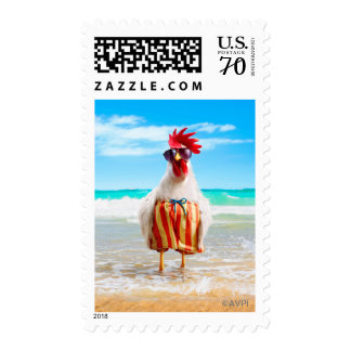 Rooster Dude Chillin' at Beach in Swim Trunks Postage