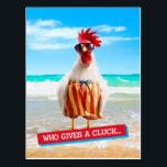"""Rooster Dude Chillin' at Beach in Swim Trunks Postcard<br><div class=""""desc"""">Feel Good Funny! Avanti,  the Global Humor Brand™ has been entertaining the world with its seriously funny greeting cards for over 35 years. Our characters live life to the fullest and celebrate the humor in everyday life.</div>"""