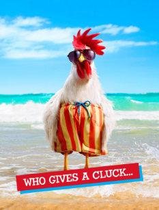 c57367cf5e Rooster Dude Chillin' at Beach in Swim Trunks Postcard