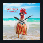 """Rooster Dude Chillin&#39; at Beach in Swim Trunks Square Wall Clock<br><div class=""""desc"""">Feel Good Funny! Avanti,  the Global Humor Brand™ has been entertaining the world with its seriously funny greeting cards for over 35 years. Our characters live life to the fullest and celebrate the humor in everyday life.</div>"""