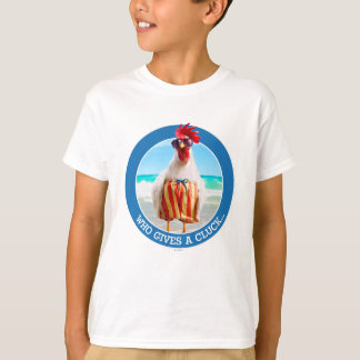 Rooster Dude Chillin' at Beach in Swim Trunks T-Shirt