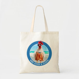 Rooster Dude Chillin' at Beach in Swim Trunks Tote Bag