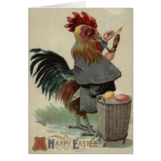 Rooster Easter Colored Egg Pipe Cigar Card