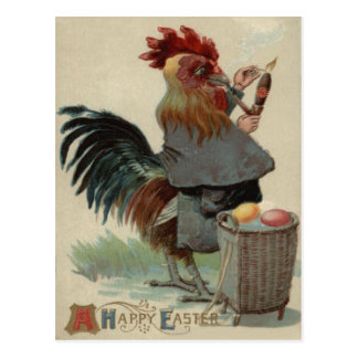 Rooster Easter Colored Egg Pipe Cigar Post Cards