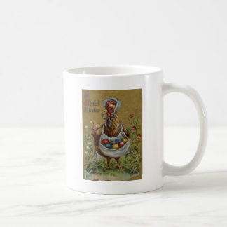Rooster Easter Colored Painted Egg Flower Bonnet Classic White Coffee Mug