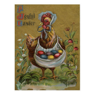 Rooster Easter Colored Painted Egg Flower Bonnet Postcard
