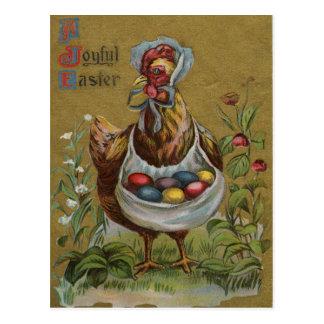 Rooster Easter Colored Painted Egg Flower Bonnet Postcard