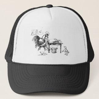 Rooster Editing Copy in Newsroom Trucker Hat