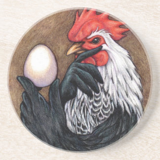 Rooster Egg Drawing Chicken Philosopher Drink Coaster