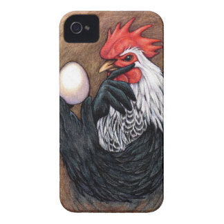 Rooster Egg Drawing Chicken Philosopher iPhone 4 Cover