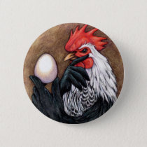 Rooster Egg Drawing Chicken Philosopher Pinback Button